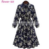 Plus Size Women Dress Midi 2017 Office Tunic Vintage Floral Print Bow Collar Long Sleeves Boho Dress
