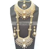 Beautiful Indian Style Colorful White Pearl & Gold Raani Necklace with Earring Tikka