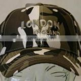 camouflage prinitng cap with customized logo on front