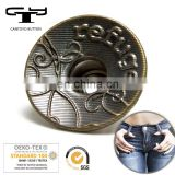 customized logo 18mm Jeans Buttons Black Metal Denim button