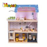 2019 Top sale children miniature furniture toys wooden dollhouse with sounds W06A365