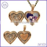 Brass Rose Gold Plated Heart Flower Photo Frame Locket Pendant Necklace