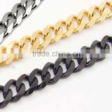 Mens Chain Boys Curb Cuban Link Stainless Steel Necklace MEN'S Silver Black Gold Curb Chain Necklace GIFT Heavy Chain