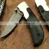 "udk f96"" custom handmade Damascus folding knife / pocket knife with coloured Camel bone Handle"