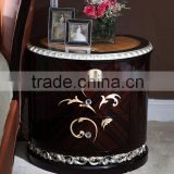 Neoclassical style nightstands bedroom furniture solid wood frame table convex carve flower AK-7072