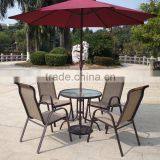 Light Weight Outdoor Garden Balcony Aluminum Sling Patio Furniture 3,5 pcs Glass Table Stackable Chair Set