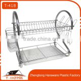 Kitchen double layer metal dish rack multifunctional organizer shelves tableware drainer