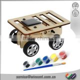 wooden Solar Powered car Painting DIY product
