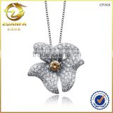 hot sale fashion 925 sterling silver micro pave zircon life silver flower pendant                                                                         Quality Choice
