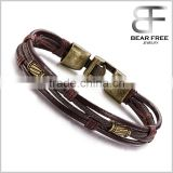 Wholesale Men Leather Bracelets Braided Wristband Vintage Style Cool Rope Bracelet for Boys