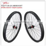 Mountain bike wheels 50mm 25mm clincher rims, 1540g, 27.5er bicycle wheels wih thru axle 15*100/12*142mm 6 bolts, BOOST
