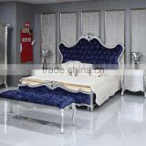 British Imperial Bedroom Furniture Set, New Classical Sleigh Bed, Blue Fabric Upholstered Sleeping Bed and Night Stand