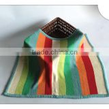 Colorful Rainbow Stripe Knitted Throw Blanket 100% Cotton Baby Swaddle Blanket