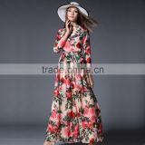 Fashion 2016 Woman Chiffon Long Dress Rose Printing Female Elegant Long Sleeve Casual Beach Dress