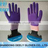 13g BLUE polyester liner, latex smooth fully coating, sandy latex palm&thumb coated work glove