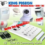 868/433mhz self defense safety Home alarm GSM with APP/GSM,smart gsm wireless alarm systemK8