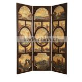 Antique Solid Wood Carved Three Doors Screen, Classic Furniture Traditional Hand Painted Folding Screen, Decorative Floor Screen