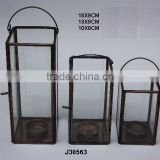Brass and glass square Votive Lantern with Antique finish