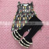 2017 new cartoon print fabric baby pearl dress outfit baby pearl dress with black triple ruffles pants outfit wholesale clothing