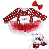 Xmas Bling Santa Baby Red Polka Dots White Ruffles Long Sleeves Bodysuit Pettiskirt and Headband Crib Shoes NB-18M