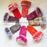 Classical design ladies women sheep fur gloves with genuine rabbit fur