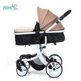 High-view folding baby stroller with white chassis