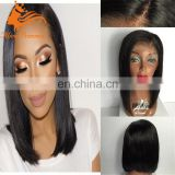 Silk Top 8A Glueless Full Lace Human Hair Bob Wigs For Black Women Silk Base Brazilian Straight Short Bob Lace Front Wigs 130%