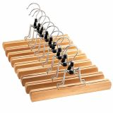 High-Grade Wooden Pants Hangers with Clips 10 Pack Non Slip Skirt Hangers, Smooth Finish Solid Wood Jeans/Slack Hanger with 360° Swivel Hook - Pants Clip Hangers for Skirts, Slacks - Clamp Hangers