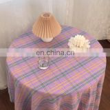 ins same paragraph fantasy purple checkered tablecloth picnic cloth swing background cloth coffee shop soft DIY curtain