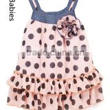 Picture modern dresses for baby girls denim neckline polka dot dress