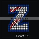 New arrival Fashion design Baseball letter Z bling rhinestone transfer for warriors jersey