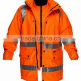 100% waterproof windproof fluorescent jacket ,PPE work wear ,foldable windproof rain jacket