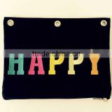 Osini custom colorful 3-ring binder Letters embroidery canvas pen pouch pencil case traving bag for school &office & girl