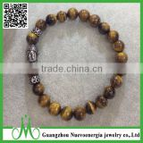 Wholesale 8 mm latest tiger eye beads jewellery buddha charm men bracelet Buddha head bracelet