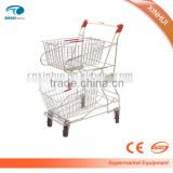 Merchandise cart , large wheel handle cart , supermarket double bucket trolley, shopping basket trolley