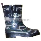 cool camo printed kids rain shoes with side buckle,customized rubber boots,gum shoes for kids