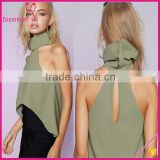 High roll neckline triangular short front hem khaki fabric crop tops for women summer 2016 cheap