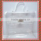 New Design Fashionable hand bag shape Clear PVC bag with metal swich button for cosmetic packing