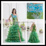 Real Sample One-shoulder A-line Layered Ruffles Applique Beaded Floor Length Prom Dresses xyy07-056