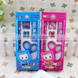 5 In 1 Kids School Pencil Eraser Sharpener Scissors Glue Stationary Set