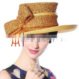 Women Party Hat Wholesale Shining Gold Top Hat Sinamay Hat 2015 New Design                                                                         Quality Choice