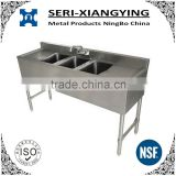 "NSF Approval Stainless Steel Three Tubs Bar Sink with 3"" Backsplash"