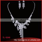 2015 Rhinestone indian bridal Jewelry silver necklace wedding jewelry set