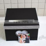 Elegant black wedding money box in handmade with photo frame wedding decorations