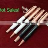 1208CB Engrave pattern with lacquer finishing metal ball pen and roller pen of rose gold plating for promotion gift