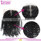 Middle parting cheap silk base closure with baby hair kinky curly peruvian silk base closure