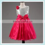 Latest Design High Quality Girls Dress Kids Party Wear Girls Prom Dress Western Ball Gowns Hot Pink Sequin Princess Dress