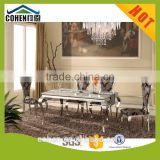 simple design white marble luxury dining table set with stainless steel legs