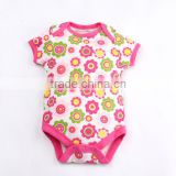 2015 latest design spring 0-6 months baby romper pure cotton short sleeve Newborn Baby Clothes pink printed flowers Bodysuits