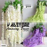 "Artificial Silk Wisteria Home Garden Hanging Flowers Plants 64"" white Wisteria Wedding Vine Decor Wedding Flower Garland"